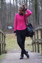 hot pink H&M sweater - black Primark boots - black backpack bag
