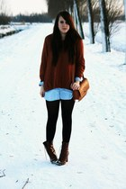 brick red H&M sweater - light blue H&M blouse - brick red H&M boots