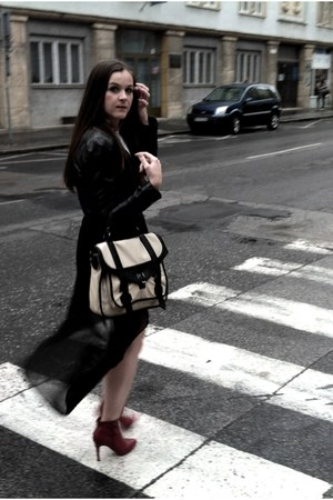 asymmetrical skirt - ankle boots - leather jacket - bag