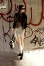 Heather-gray-dress-black-leather-jacket-black-hiddenwedge-sneakers