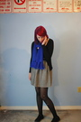 Blue-scarf-black-cardigan-skirt-black-tights-black-target