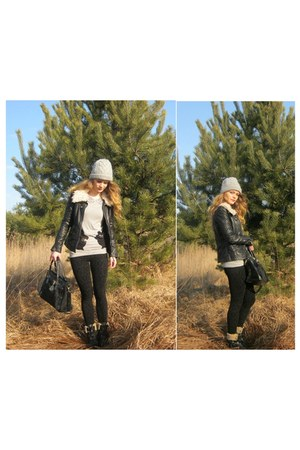 black Lasocki shoes - black Zara jacket - silver Mohito sweater