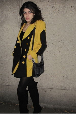 gold Beacons closet coat - black Ami Club Wear boots - black coach purse