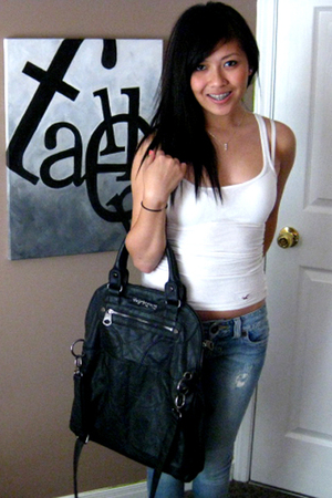 Zara Trf purse - Guess destroyed jeans - hollister top