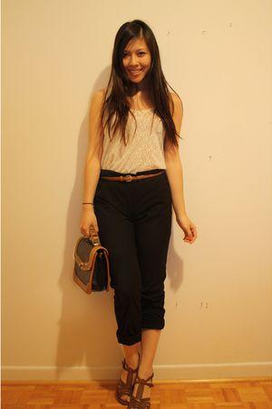 wilfred belt - Aldo shoes - Forever 21 lace top - H&M pants - vintage purse