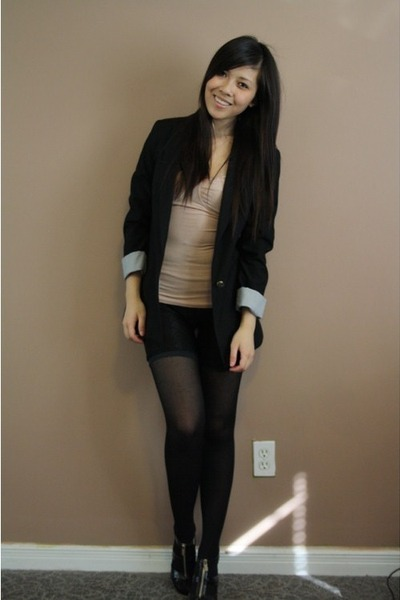 Zara blazer - community top - lace shorts - f21 tights - Michael Kors shoes