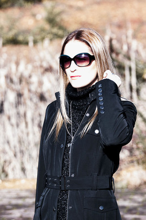 black Rockport boots - black Alba Conde dress - black caroll coat