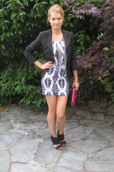 silver H&M dress - black united colors of benetton blazer - black Miss Sixty sho