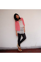 white local shop dress - navy local shop leggings - pink local shop blouse - taw