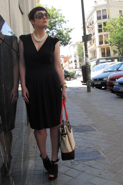 Etsy necklace - Comptoir des Cotonniers dress - Topshop bag - Mango heels