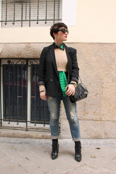 weekday top - Zara boots - Zara jeans - Zara jacket - asos shirt