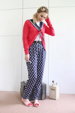 nautical Primark flats - River Island pants - red H&M cardigan