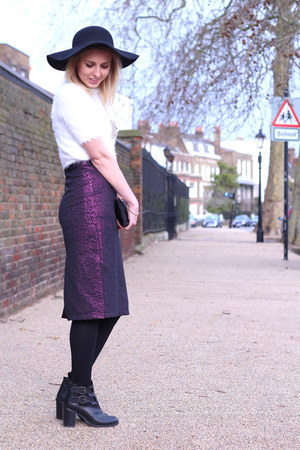 metallic pencil Topshop skirt - cut out Office boots