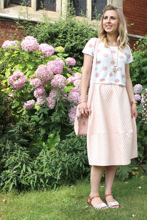 midi Topshop skirt - pink milkman Brit-Stitch bag - white cut out asos sandals