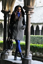 black Minelli boots - gray Zara coat - blue Uniqlo jeans - black balenciaga bag