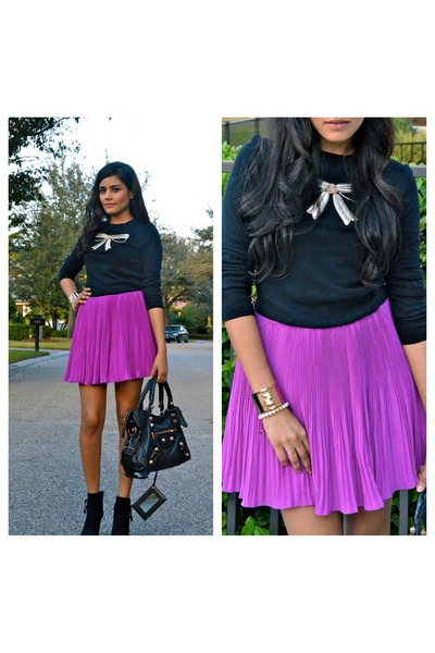 magenta ted baker skirt - black Geox boots - black ted baker sweater