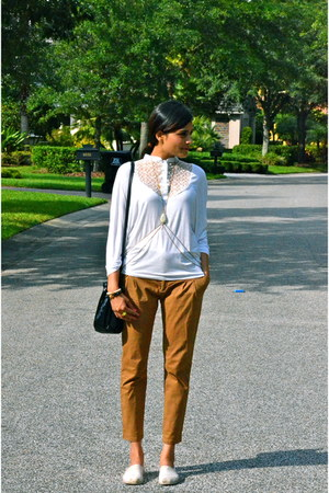 black RED valentino bag - bronze Zara pants - white Morgan de Toi top