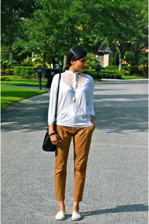 black RED valentino bag - bronze Zara pants - white Morgan de Toi top