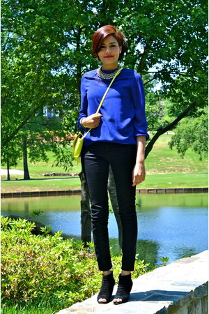 black Zara jeans - blue Zara blouse