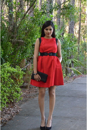 black BCBG bag - ruby red Prabal Gurung dress - black stuart weitzman heels