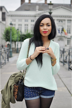 olive green Zara jacket - blue Zara shorts - aquamarine Zara jumper