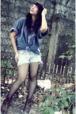 diy shorts - thrifted denim blouse