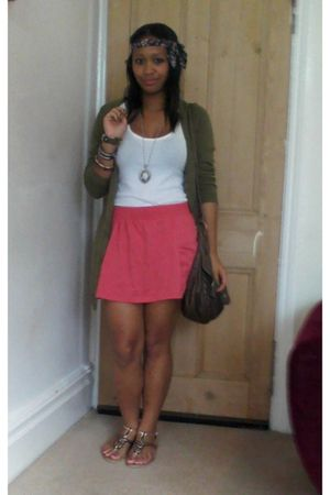 green H&M cardigan - white Topshop vest - red Primark skirt