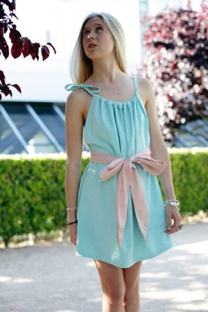 blue sash belt Alyssa Nicole dress