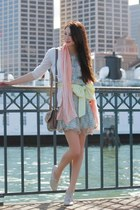 sky blue Alyssa Nicole dress - off white lace up shoes - light pink Gap scarf