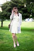 aquamarine Alyssa Nicole dress - beige trench coat Anthropologie jacket