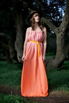 Orange-chiffon-maxi-alyssa-nicole-dress-mustard-velvet-alyssa-nicole-belt