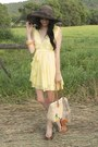 Light-yellow-alyssa-nicole-dress-brown-floppy-hat-urban-outfitters-hat