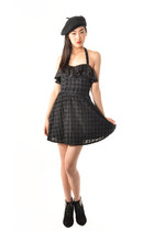 SALE Houndstooth Ruffle Halter Dress
