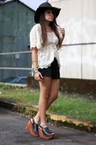 beige lace blouse - black wedges Jeffrey Campbell shoes - black floppy hat