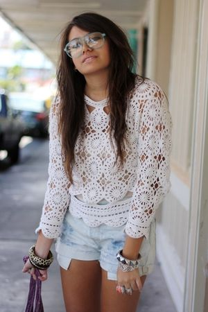 white crochet Croquet Club blouse - brown wedge xhilaration shoes