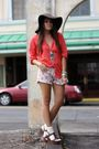 Brown-h-m-hat-merona-blouse-beige-almost-famous-shorts-blue-h-m-necklace-
