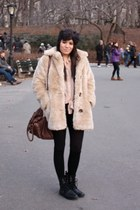 faux fur MinkPink coat - lace-up H&M boots - bow headband Topshop hat