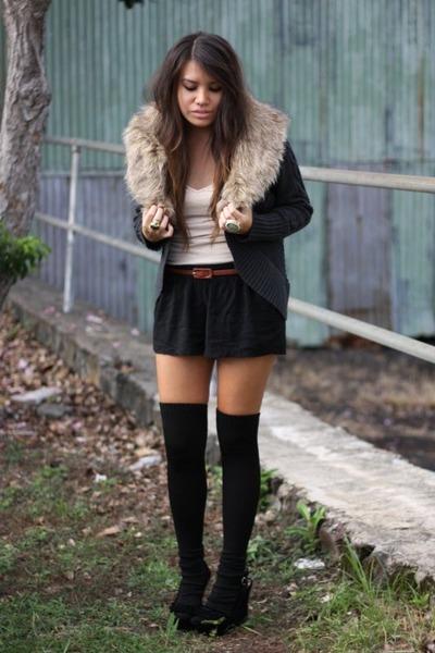 black thigh high American Apparel socks - black tap American Rag shorts