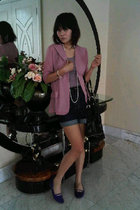 pink ICONIA blazer - purple blouse - white necklace - blue shorts - purple shoes