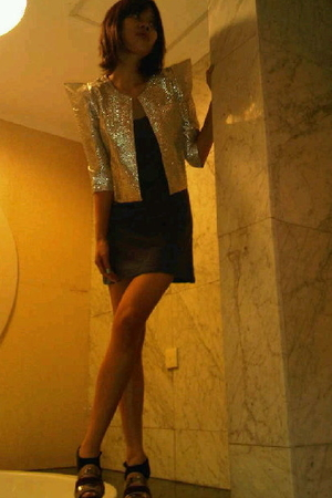 silver ICONIA blazer - black flea market dress - gold Charles &amp; Keith shoes