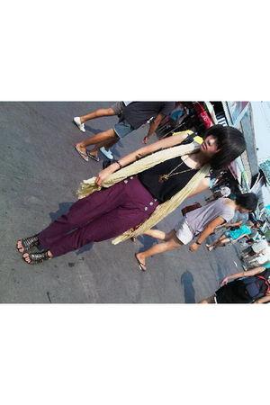 beige Mango scarf - black top - gold necklace - purple iconia pants - black shoe