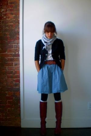 Lux blazer - Gap scarf - UO skirt - boots - belt