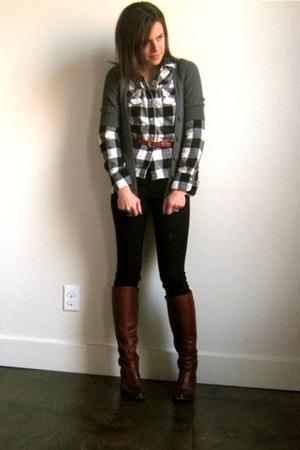 Target shirt - Target cardigan - Topshop jeans - vintage boots