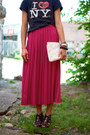 Black-t-shirt-white-bag-black-call-it-spring-wedges-hot-pink-skirt