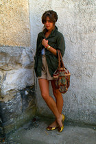 army green jacket - tan vintage shorts