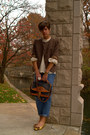 Gap-jeans-brown-tweed-vintage-blazer-vintage-dooney-and-bourke-bag