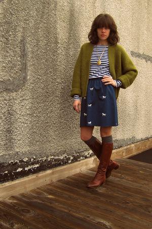 thrifted ellen tracy sweater - thrifted skirt - Rodarte for Target shirt