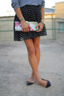 Black-polka-dot-skirt-heather-gray-american-apparel-shirt-black-flats