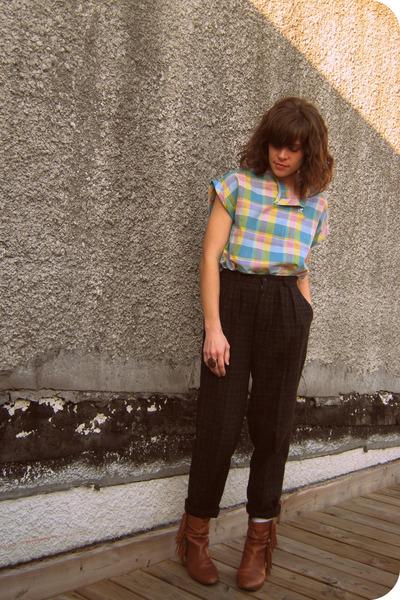 vintage pants - vintage blouse