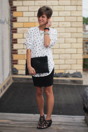 white shirt - black Call it Spring shoes - black bag - black skirt